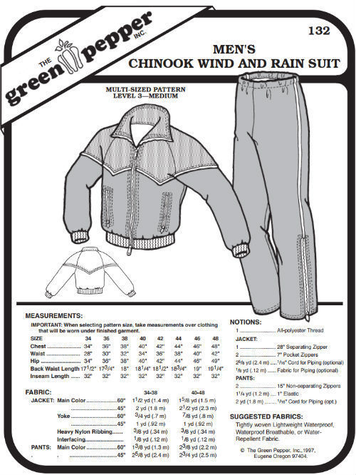 Primary image for Men's Chinook Wind and Rain Suit Coat Jacket Pants #132 Sewing Pattern gp132