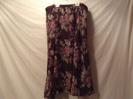 Great Condition Gayle Burbark 100% Polyester Maroon Green Pink Floral Skirt