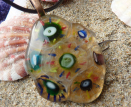 """Multi-colored Melted Marble Pendant with 18"""" Black Leather Cord - $8.00"""