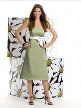 Alfred Sung 401...Cocktail ..Satin...Strapless Dress....Kiwi..Size 0 - $29.99