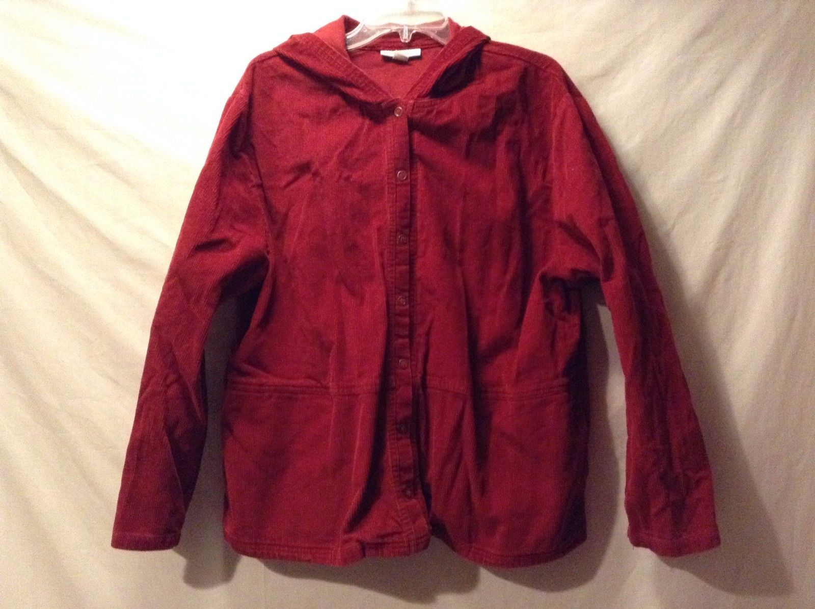 Great Condition Dress Barn Woman 2X 100% Cotton Red Corduroy Jacket 2 Pockets