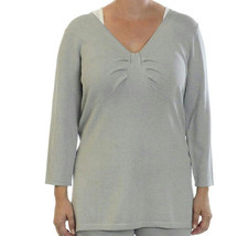 M Grace Dane Lewis Heather Grey Soft Knit Bow Front 3/4 Sleeve Top Split... - $25.24