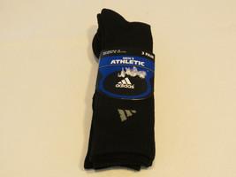 Adidas mens athletic 3 pair socks mens shoe size 6-12 sock size 10-13 black - $32.66