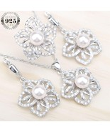 925 Silver Natural Pearls Jewelry Sets Women White Zircon Earrings With ... - $24.94
