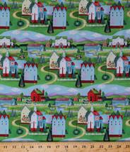 Jim Shore Village Farm Houses Hills Folk Art Cotton Fabric Print by Yard... - $9.95