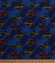 General Motors Hummers SUVs Tire Tracks Blue Cotton Fabric Print by Yard... - $10.95