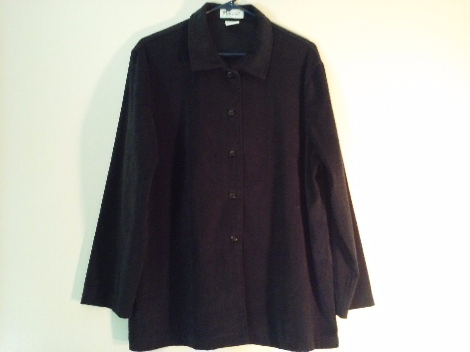 Great Used Condition Marisol XL Polyester Blend Black Buttoned Collared Shirt