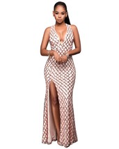 Beige V-Neck Sleeveless Spaghetti Strap Sheath Ankle-Length Maxi Dress - $62.95