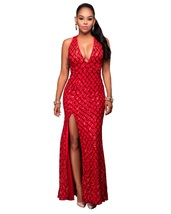 Red V-Neck Sleeveless Spaghetti Strap Sheath Ankle-Length Maxi Dress - $62.95