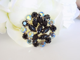 Vintage Black and AB Rhinestone Brooch Pin - $18.00