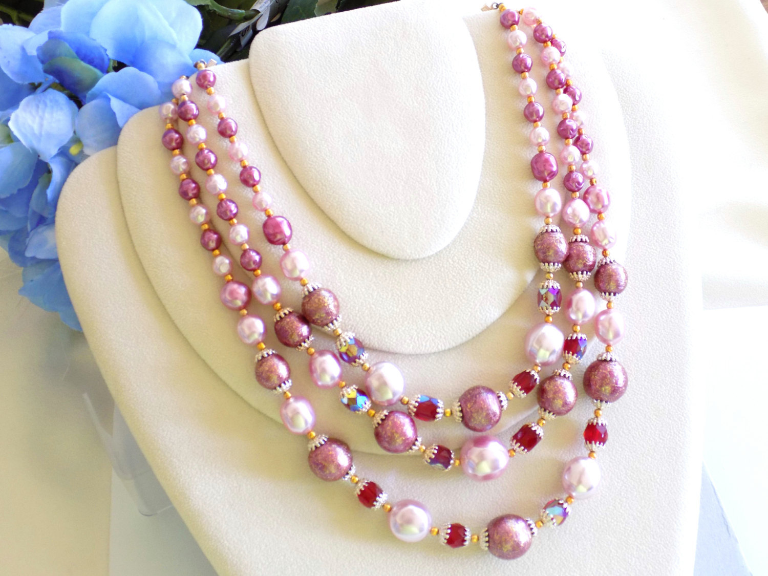 Primary image for Vintage Triple Strand Beaded Necklace Pink Beads and Faux Pearls, Faceted Red Be