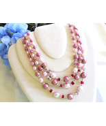 Vintage Triple Strand Beaded Necklace Pink Beads and Faux Pearls, Facete... - $22.00