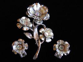 Brooch and Earring Set Silver Tone Rhinestone Flower Bouquet Vintage - $25.00