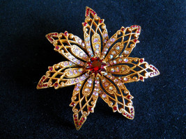 Art Signed Ruby Red and AB Rhinestone Starburst Flower Brooch Pin Vintage - $55.00