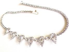 Vintage Weiss Rhinestone Necklace, Glittering, Sparkling Clear Rhineston... - $55.00