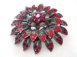 Red Rhinestone Flower Brooch Pin, Japanned Gunmetal, Vintage - $28.00