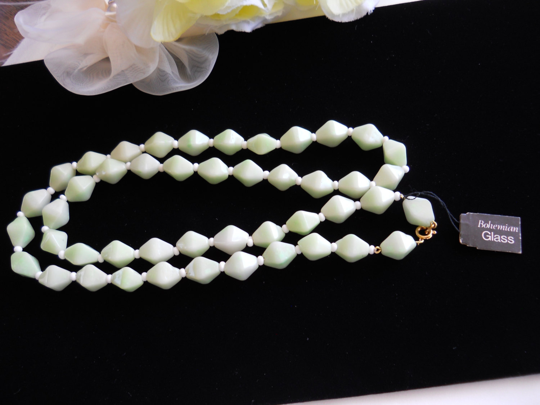 Mint Green Bohemiam Glass Necklace Vintage image 2