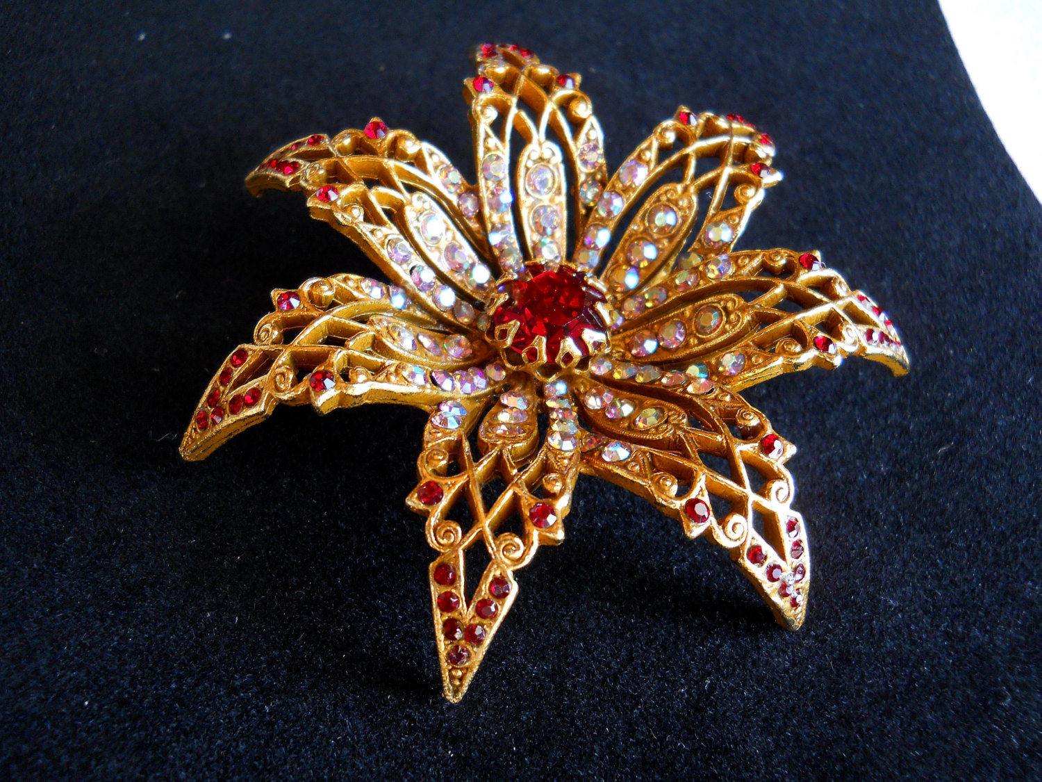 Art Signed Ruby Red and AB Rhinestone Starburst Flower Brooch Pin Vintage