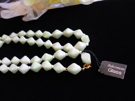 Mint Green Bohemiam Glass Necklace Vintage image 4