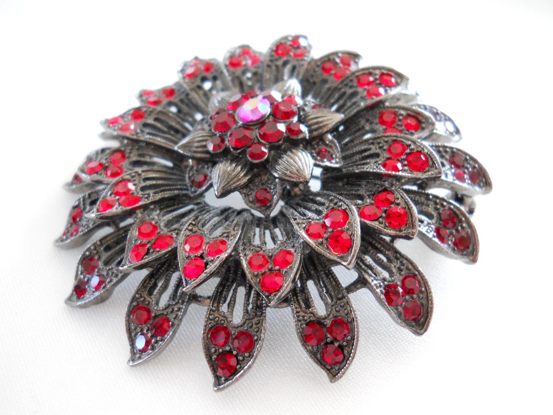 Red Rhinestone Flower Brooch Pin, Japanned Gunmetal, Vintage