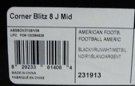 Adidas Corner Blitz 8 J Mid Youth Football SHOES/CLEATS BLACK/WHITE - $17.99