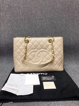 AUTHENTIC CHANEL QUILTED CAVIAR GST GRAND SHOPPING TOTE BAG BEIGE GHW RE... - $2,588.00