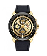 NAVIFORCE 9129 Men's Sports PU Leather Wrist Quartz Watch - Black + Gold... - $36.94