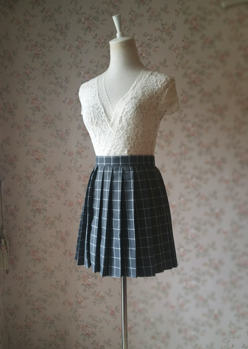 NAVY BLUE PLAID Skirt Girl Pleated Plaid Skirt School Style Plaid Skirt US0-US16