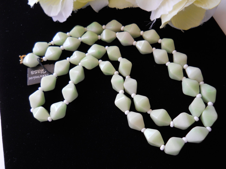 Mint Green Bohemiam Glass Necklace Vintage image 5