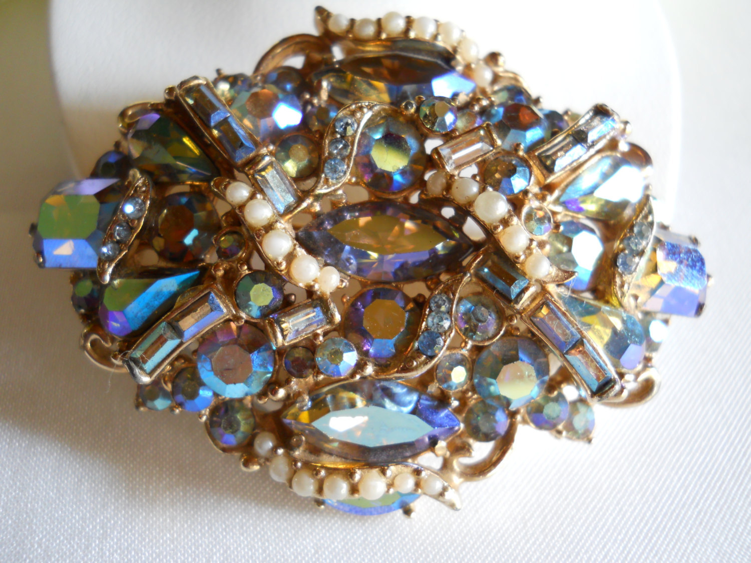 Signed Hollycraft Copr 1957 Blue AB Rhinestone and Seed Pearl Brooch Vintage