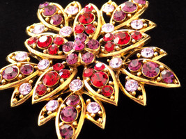 Vintage Flower Brooch Ruby Red, Purple and Lavender Rhinestone - $35.00