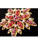 Vintage Flower Brooch Ruby Red, Purple and Lavender Rhinestone - $35.00