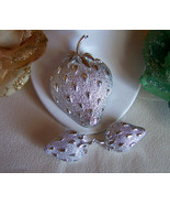 Signed Sarah Coventry Strawberry Ice Brooch and Earring Set - $24.00