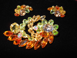 Brooch and Earring Set, Blue, Green, Yellow & Amber Rhinestone Vintage - $58.00