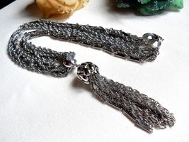 Kramer 6 Strand Silver Tone Tassel Necklace Vintage Signed image 1