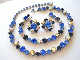 Fabulous Fenichel Line Necklace, Bracelet and Earring Set, Blue & AB Rhi... - $225.00
