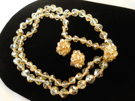 Signed Vogue Faceted Golden Crystal Double Strand Necklace & Earring Set... - $85.00