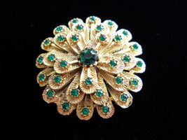 Rhinestone Flower Brooch Pin Layered Textured Gold Tone Metal Green Rhin... - $35.00