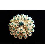 Rhinestone Flower Brooch Pin Layered Textured Gold Tone Metal Green Rhin... - $35.00