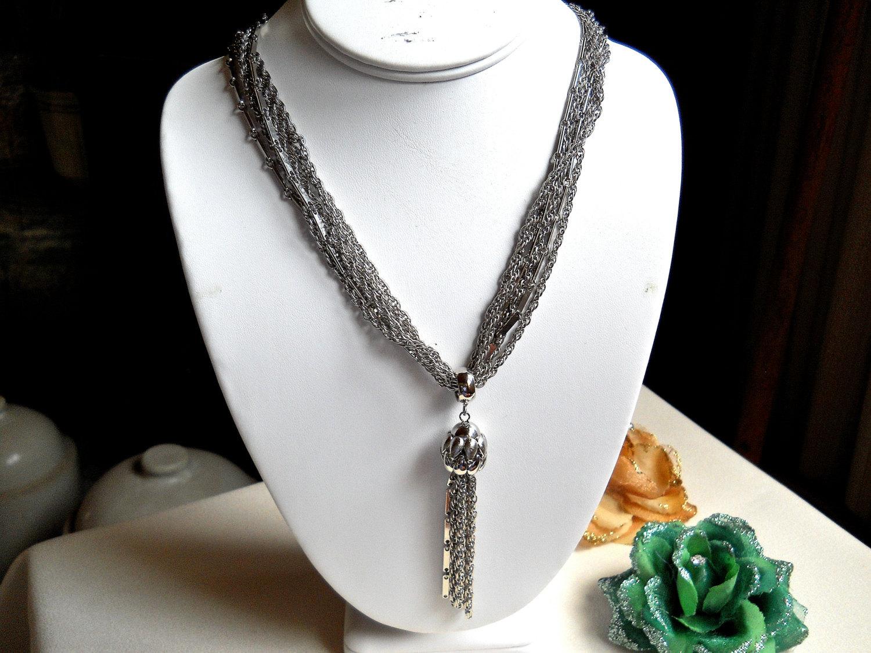 Kramer 6 Strand Silver Tone Tassel Necklace Vintage Signed image 2
