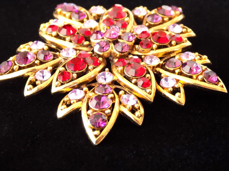 Vintage Flower Brooch Ruby Red, Purple and Lavender Rhinestone