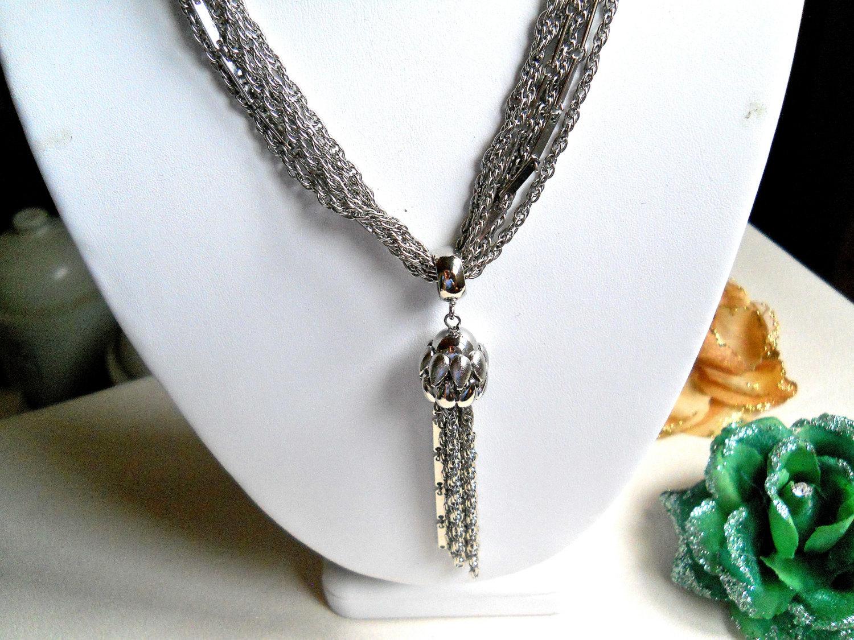 Kramer 6 Strand Silver Tone Tassel Necklace Vintage Signed image 4