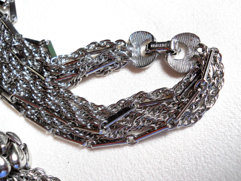 Kramer 6 Strand Silver Tone Tassel Necklace Vintage Signed image 5