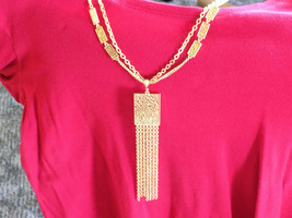 Vintage Gold Tone Chain Double Strand Open Work Statement Necklace - $24.00
