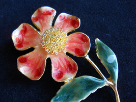 Vintage Stemmed Flower Brooch Pin Red and Green Enamel - $25.00