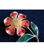 Vintage Stemmed Flower Brooch Pin Red and Green Enamel - $25.00