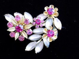 Vintage Judy Lee Brooch Flower Spray Pink Rhinestone Frosted Navette Flo... - $45.00