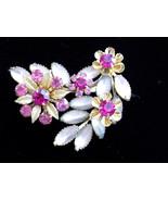 Vintage Judy Lee Brooch Flower Spray Pink Rhinestone Frosted Navette Flo... - $45.00