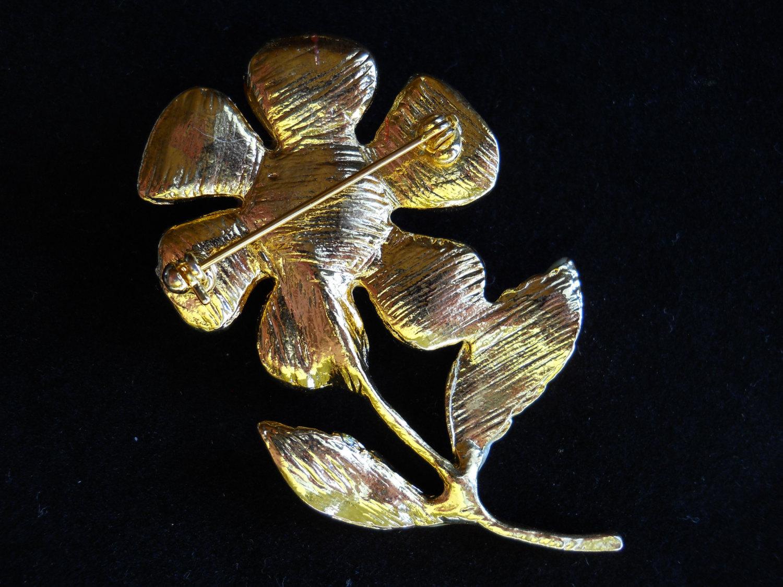 Vintage Stemmed Flower Brooch Pin Red and Green Enamel