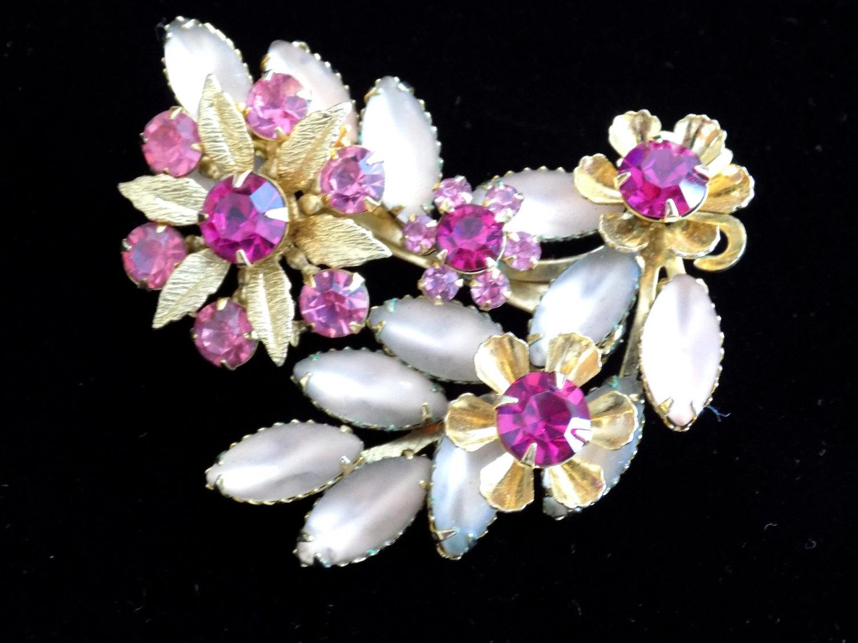 Vintage Judy Lee Brooch Flower Spray Pink Rhinestone Frosted Navette Flower Broo